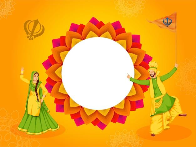 Carattere di coppia punjabi nella danza bhangra con bandiera sikh