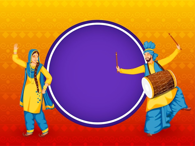 Coppia punjabi facendo danza bhangra con strumento dhol