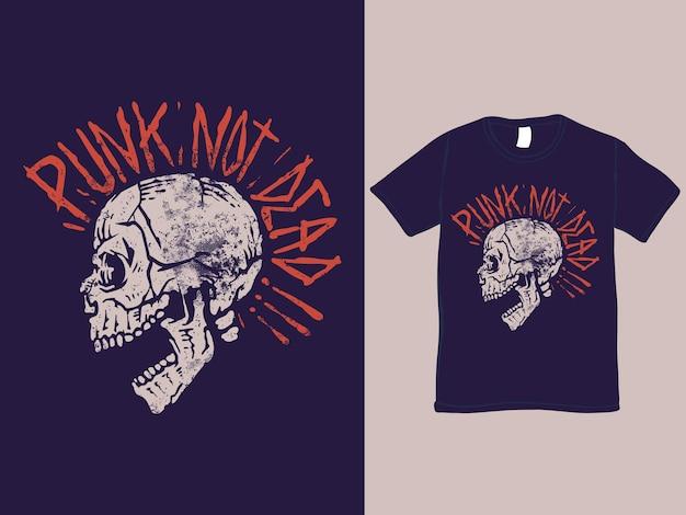 Maglietta e illustrazione del teschio non morto punk