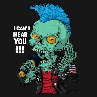 Illustrazione del cranio punk