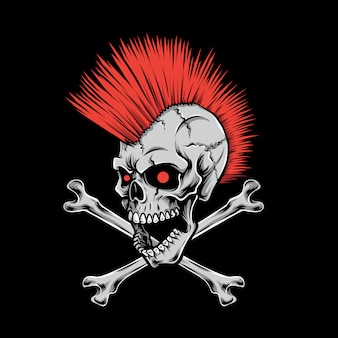 Logo punk teschio mohawk