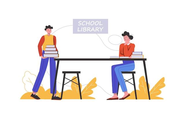 L'allievo tiene una pila di libri di testo nella biblioteca scolastica. gli studenti fanno i compiti e leggono libri alla scrivania, scena di persone isolata. istruzione, concetto di informazione. illustrazione vettoriale in design piatto minimal