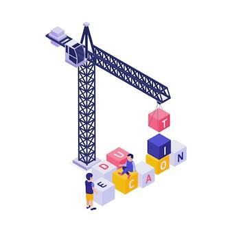Alunni che costruiscono istruzione di parola con l'illustrazione isometrica di concetto dei blocchi