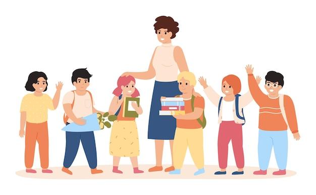 Alunni e insegnanti. bambini felici e insegnante femminile che stanno insieme, insegnante della giovane donna con l'illustrazione degli alunni