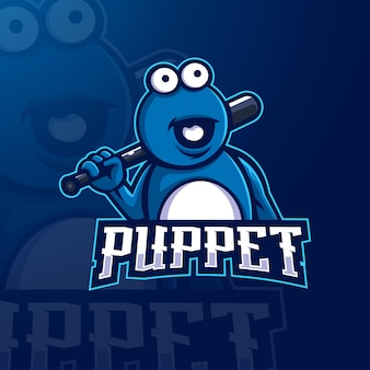 Vettore dell'illustrazione di progettazione di logo della mascotte di e-sport del burattino