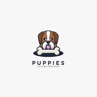 Cuccioli testa di cane con osso carino illustrazione logo.