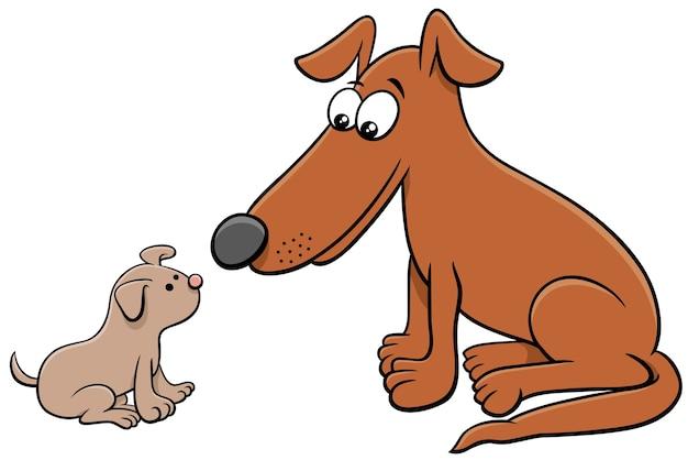 Personaggi animali dei cartoni animati cucciolo e cane adulto