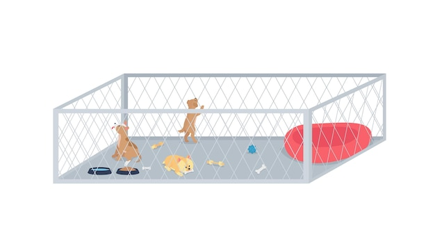 Carattere dettagliato piatto della lettiera del cucciolo. cani di piccola taglia in adozione. centro veterinario. rifugio per animali senzatetto fumetto isolato