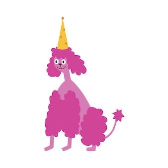 Barboncino del cucciolo in un'illustrazione piana di vettore del fumetto del cappello della festa di compleanno isolata.