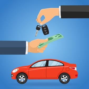Acquisto, acquisto, condivisione o noleggio auto concept Vettore Premium