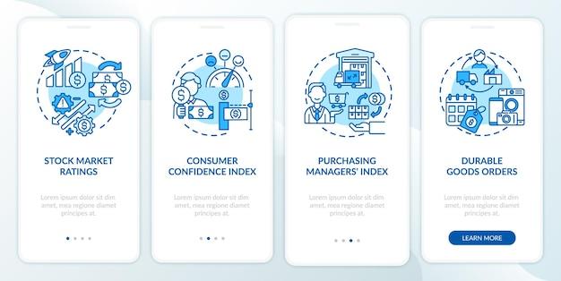 Indice del responsabile acquisti onboarding schermata della pagina dell'app mobile con concetti