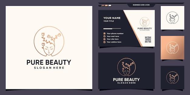 Logo del viso di donna di pura bellezza con fiore in stile lineare e design del biglietto da visita vettore premium