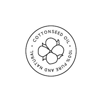 Etichette e distintivi per rivestimento in puro olio di semi di cotone - icona rotonda vettoriale, adesivo, timbro, etichetta fiore di cotone isolato su sfondo bianco - logo di olio biologico naturale.