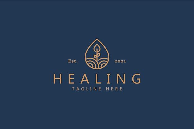 Distintivo del logo della natura della pianta liquida pura. unico modello di concept design. guarigione, salute, fattoria, agricoltura, marchio di prodotti freschi.