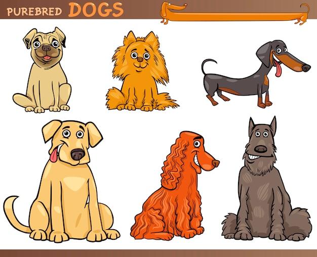 Insieme dell'illustrazione del fumetto dei cani di razza