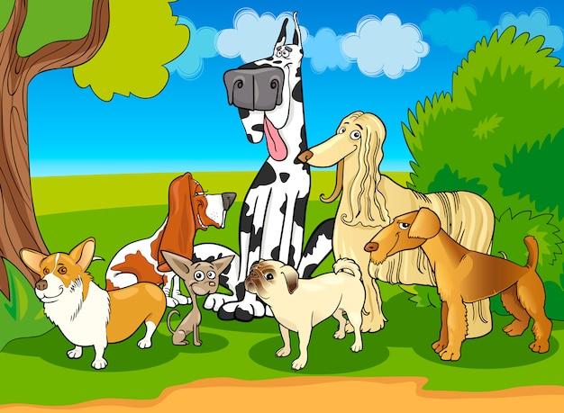 Illustrazione del fumetto di gruppo cani di razza