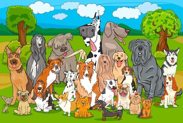 Cartone animato di gruppo cani di razza