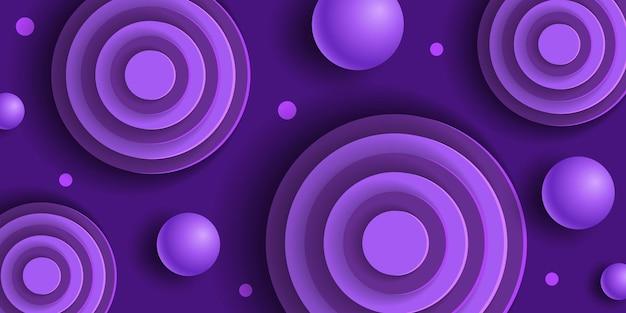 Sfondo astratto viola con sfere e cerchi in stile taglio carta
