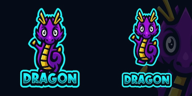 Modello di logo di gioco della mascotte del drago viola del bambino per lo streamer di esports facebook youtube