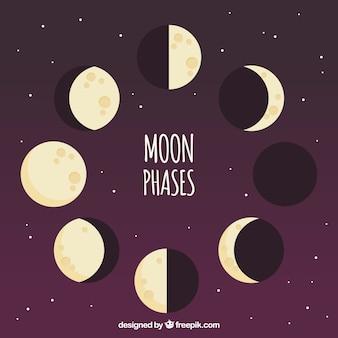 Sfondo viola con fasi di luna in design piatto