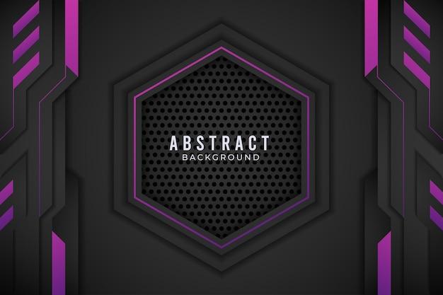 Viola e nero astratto design metallico tech innovation concept.premium vector