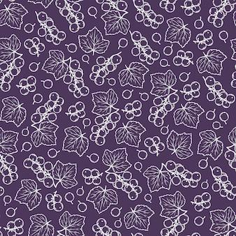 Ribes nero viola benefici berry nature hand drawn seamless pattern illustrazione vettoriale per tessuto di stampa e decorazione