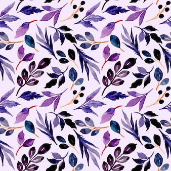 Modello senza cuciture delle foglie blu viola con l'acquerello