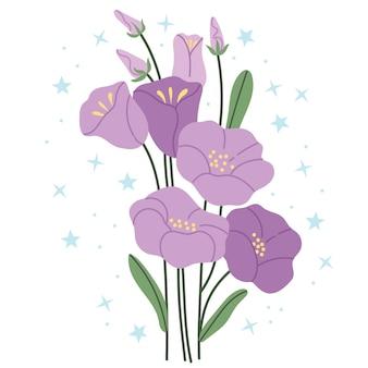 Campanula viola su sfondo bianco illustrazione semplice.