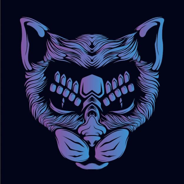 Illustrazione di testa di gatto viola
