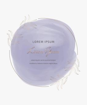 Forma di tratto di pennello acquerello cerchio viola con cornice botanica dorata
