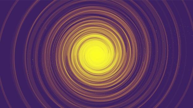 Buco nero a spirale comica viola su sfondo nero galassia