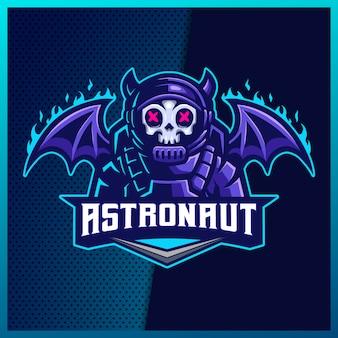 Il logo porpora della mascotte dello sport e dello sport dell'astronauta del diavolo progetta con il concetto moderno dell'illustrazione