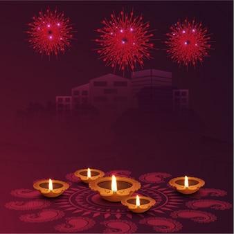 Diwali background viola con candele e fuochi d'artificio
