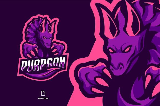 Illustrazione del logo del gioco sportivo della mascotte del drago viola per la squadra di gioco sportivo