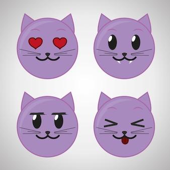 Set di icone emoticon viola