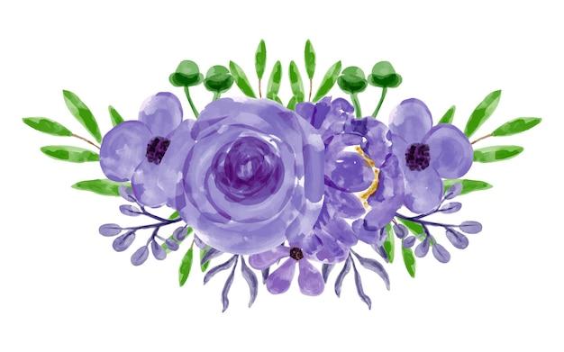 Composizione floreale viola con acquerello