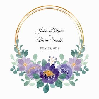 Acquerello di ghirlanda floreale viola con cornice dorata