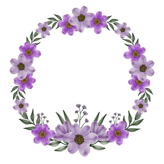 Cornice del cerchio di fiori viola con fiori viola dell'acquerello