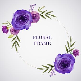 Cornice dorata dipinta a mano fiore viola