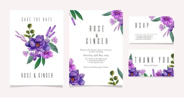 Modello della carta dell'invito di nozze dell'illustrazione dell'acquerello del fiore viola