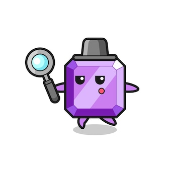 Personaggio dei cartoni animati con gemme viola che cerca con una lente d'ingrandimento, design in stile carino per maglietta, adesivo, elemento logo,