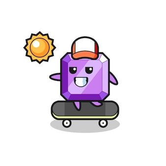L'illustrazione del personaggio della pietra preziosa viola cavalca uno skateboard, design in stile carino per t-shirt, adesivo, elemento logo