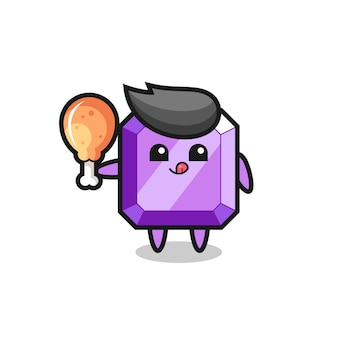 La simpatica mascotte con gemme viola sta mangiando un pollo fritto, un design in stile carino per maglietta, adesivo, elemento logo