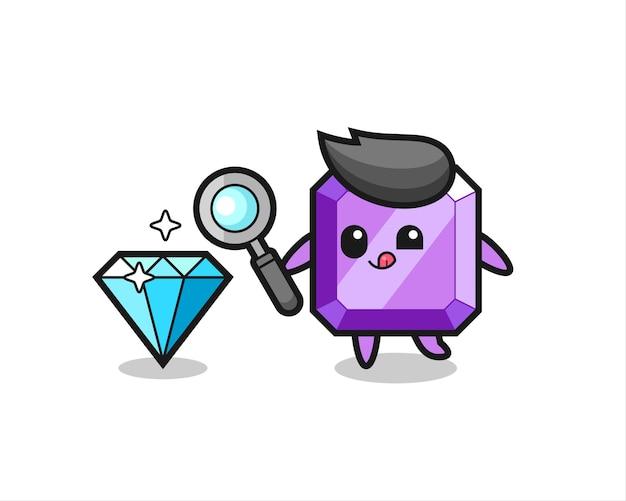 La mascotte della pietra preziosa viola sta controllando l'autenticità di un diamante, un design in stile carino per maglietta, adesivo, elemento logo