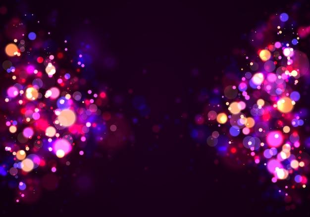 Priorità bassa luminosa viola e dorata, bokeh delle luci.