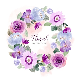 Modello di corona dell'acquerello fiore verde viola