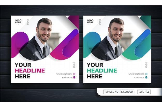 Volantino viola e verde o banner per social media per la vendita aziendale