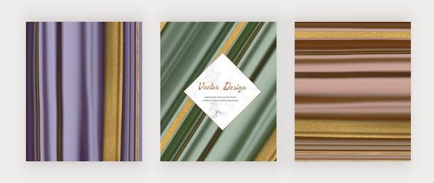 Inchiostro liquido viola, verde e oro rosa con glitter oro e cornice in marmo.
