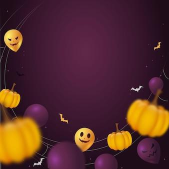 Sfondo viola di halloween con zucche e palloncini