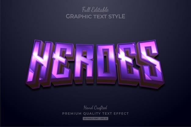 Purple heroes modificabile premium text style effect